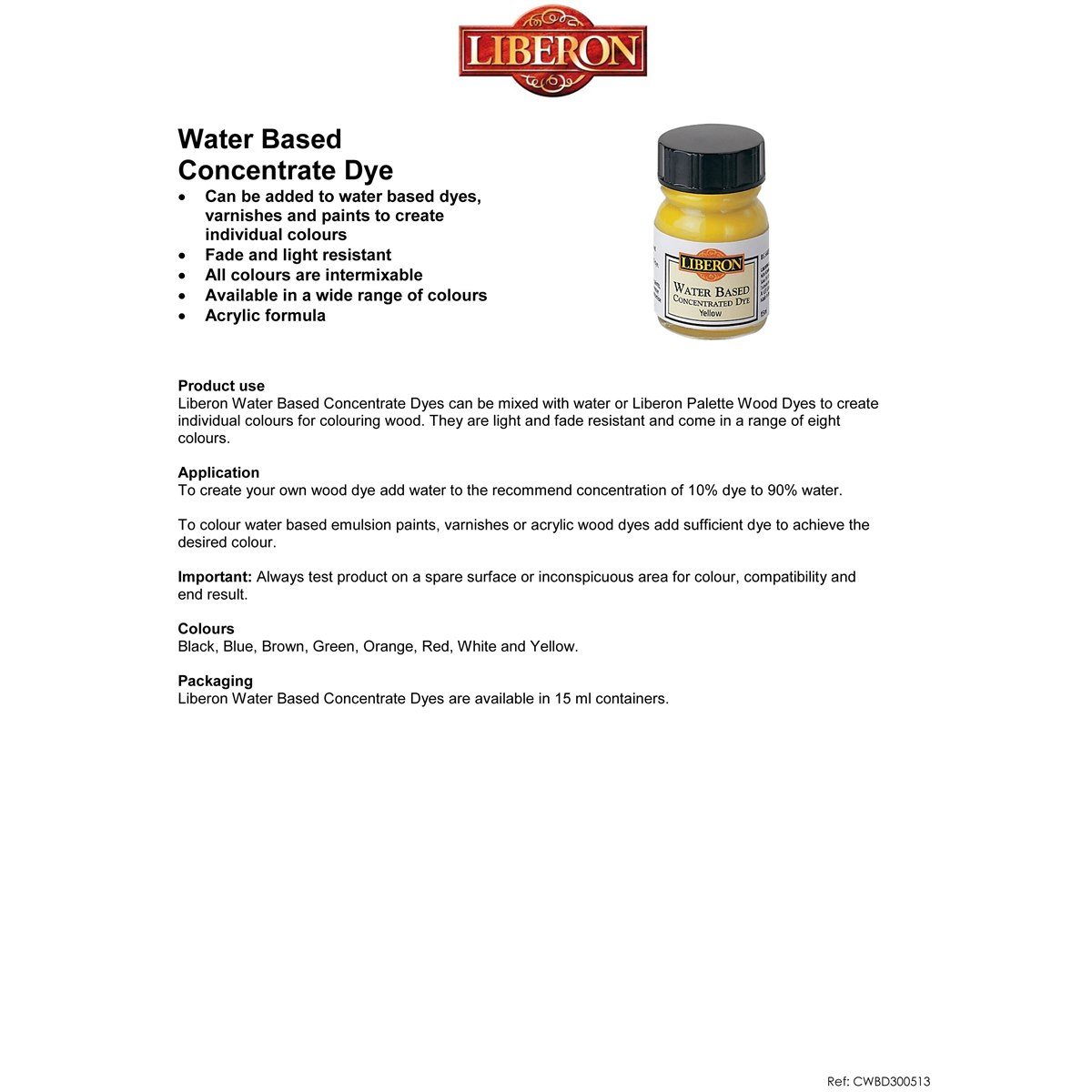 Liberon Water Based Concentrated Dye usage instructions