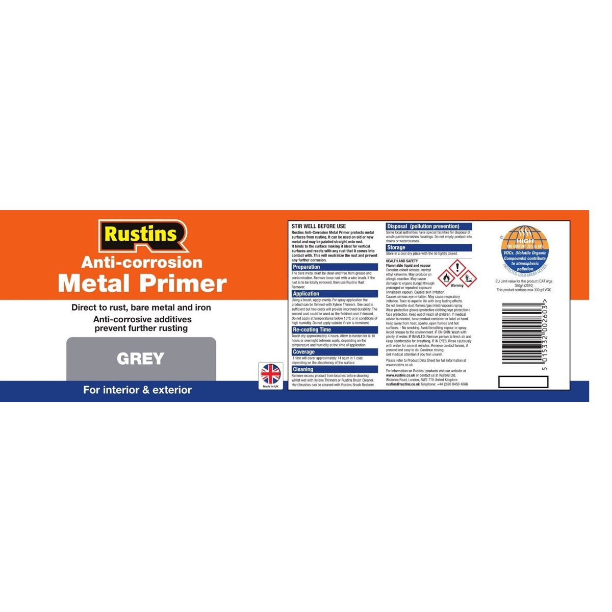 Rustins Grey Anti-Corrosion Metal Primer