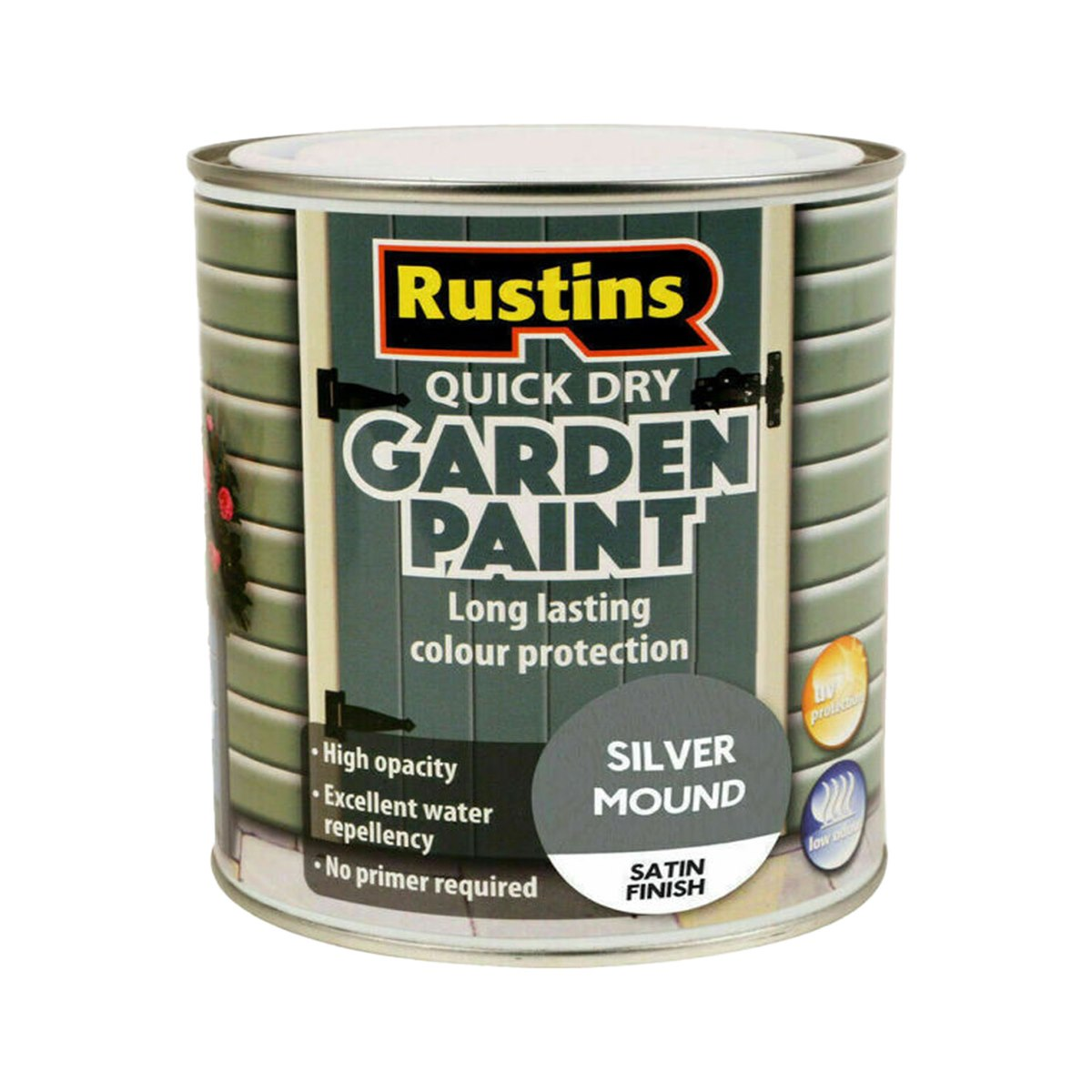 Rustins Quick Dry Garden Paint Satin Finish Silver Mound