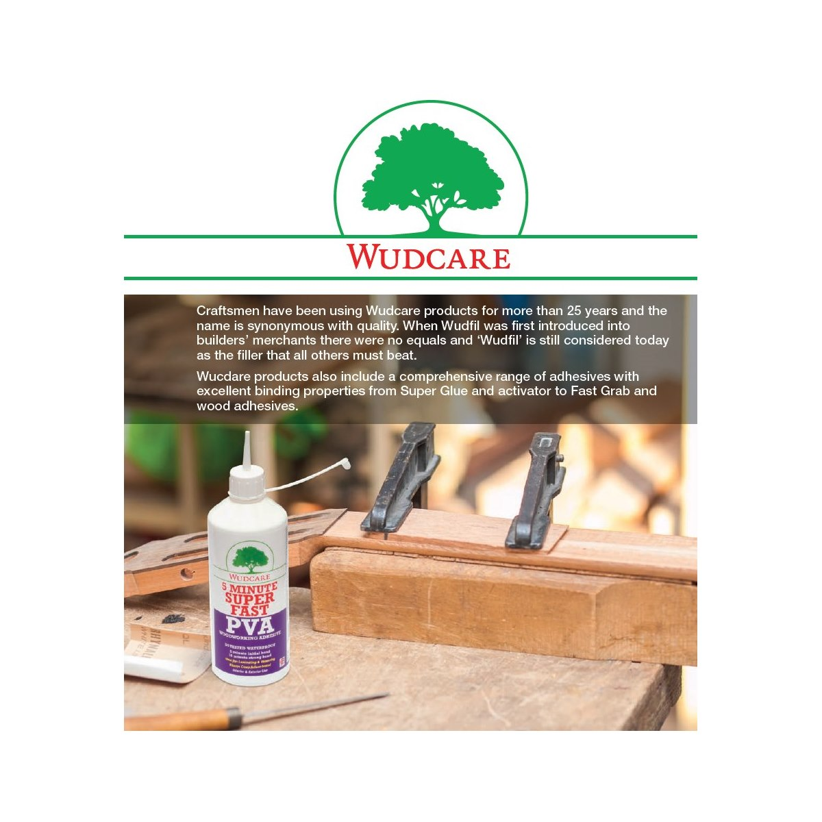 Wudcare Styrene Free Easy Stain Wudfil Wood Repair Filler Paste Oak 500ml